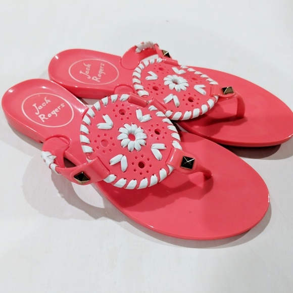 508b019168d Jack Rogers Georgica Jelly Sandals Pink White 12